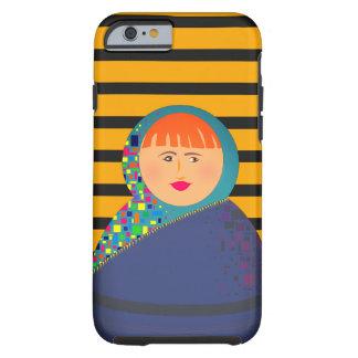 Matryoshka Beautiful Woman Stripes Background Tough iPhone 6 Case