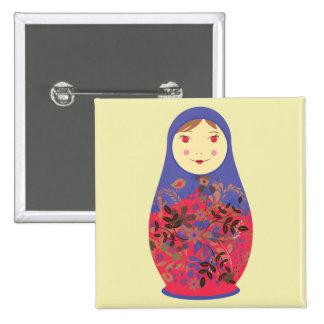 Matryoshka Doll 2 ~ Russian / Babushka Nesting 2 Inch Square Button