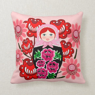 matryoshka doll and Russian Folk Art Khokhloma Throw Pillow