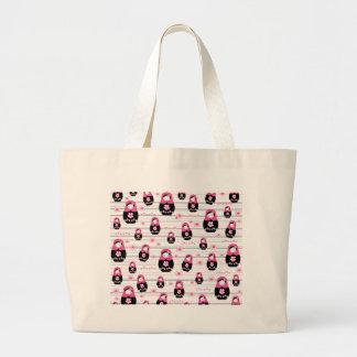 Matryoshka doll pattern large tote bag