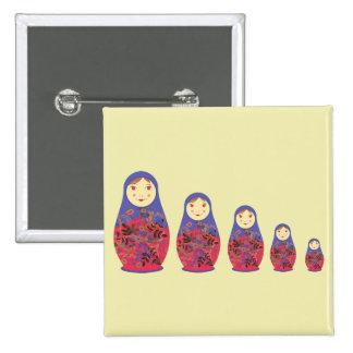 Matryoshka Doll ~ Russian Nesting / Babushka 2 Inch Square Button