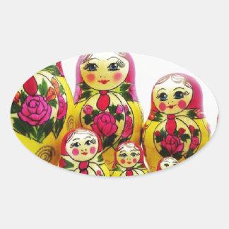 Matryoshka Dolls Oval Sticker