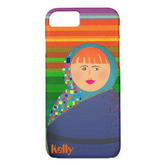 Matryoshka Modern Cartoon Colorful Stripes Hipster iPhone 8/7 Case
