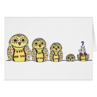 MATRYOSHKA OWL greeting card by Nicole Janes