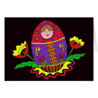 Matryoshka Pysanka Ukrainian Folk Art Card