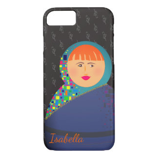 Matryoshka Russian Doll Black Floral Personalized Case-Mate iPhone Case