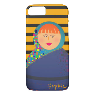 Matryoshka Russian Doll Modern Stripes Hipster iPhone 8/7 Case