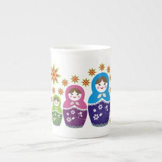 Matryoshka Russian dolls & sunflowers custom Bone China Mug