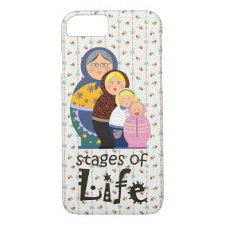 Matryoshka Set Cartoon Woman's Life Floral Ornate iPhone 8/7 Case