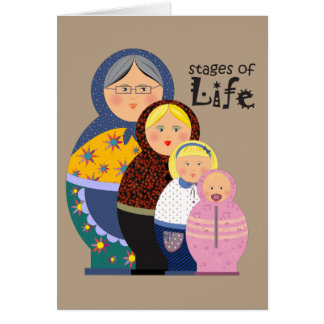 Matryoshka Stages Of Life Illustration Card