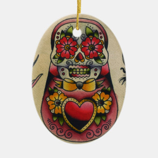 matryoshka sugar skull ceramic ornament