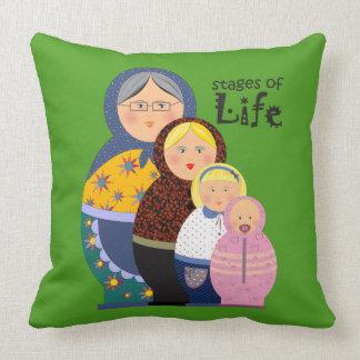 Matryoshka Woman's Life Stages Cartoon Cute Funny Throw Pillow