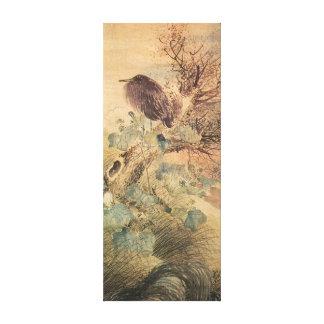 Matsumura Goshun Hibiscus and Blue Heron on a Tree Canvas Print