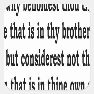 Matt. 7:3,w square sticker