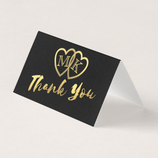 Matte Black Gold Hearts Mini Thank You Cards