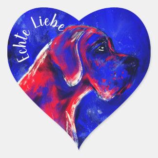 Matte Doggenaufkleber red blue heart Heart Sticker