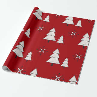 Matte Red Christmas Tree Wrapping Paper