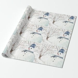Matte Wrapping Paper, Snowmen Pattern Wrapping Paper