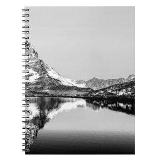 Matterhorn mountain black and white landscape spiral notebook