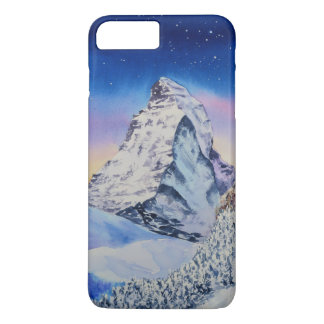 Matterhorn mountain in snow at winter evening iPhone 8 plus/7 plus case