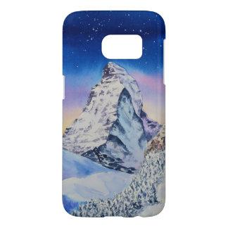 Matterhorn mountain in snow at winter evening samsung galaxy s7 case