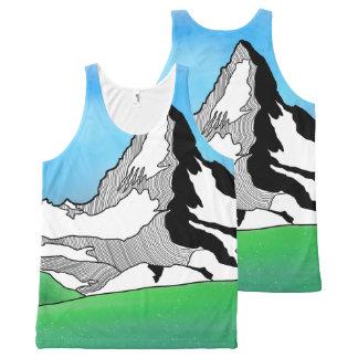 Matterhorn Switzerland Line art watercolor All-Over-Print Tank Top