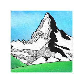 Matterhorn Switzerland Line art watercolor Canvas Print