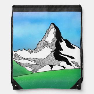 Matterhorn Switzerland Line art watercolor Drawstring Bag