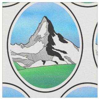 Matterhorn Switzerland Line art watercolor Fabric