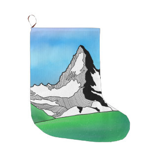 Matterhorn Switzerland Line art watercolor Large Christmas Stocking