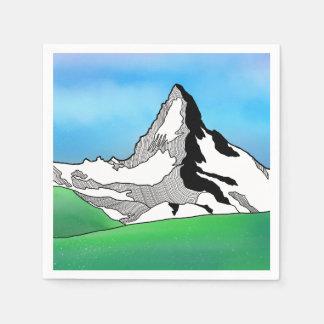 Matterhorn Switzerland Line art watercolor Paper Napkins