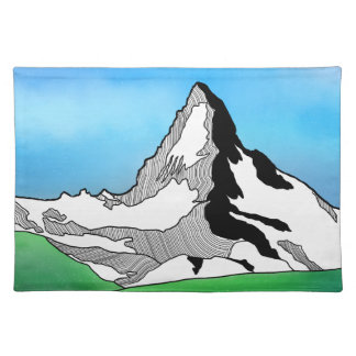 Matterhorn Switzerland Line art watercolor Placemat