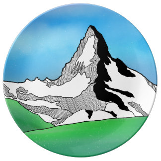 Matterhorn Switzerland Line art watercolor Plate
