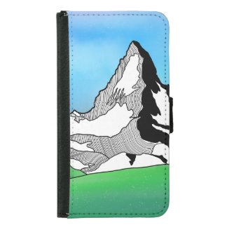 Matterhorn Switzerland Line art watercolor Samsung Galaxy S5 Wallet Case