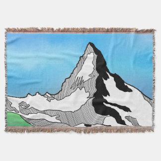 Matterhorn Switzerland Line art watercolor Throw Blanket
