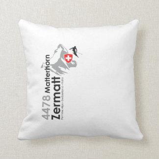Matterhorn-Zermatt skiing Throw Pillow