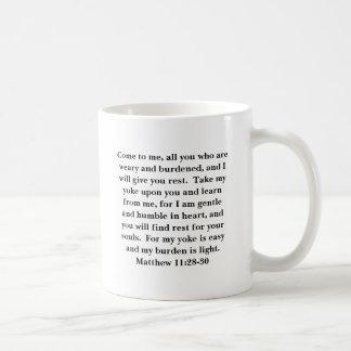 Matthew 11:28-30 on a mug