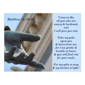 Matthew 11 28 30 Scripture Memory Card Postcard