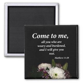 Matthew 11:28 square magnet