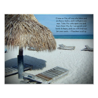 Matthew 11 Beach Scenic Christian Bible Print