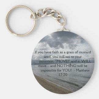 Matthew 17:20 - Motivational Inspirational Quote Basic Round Button Keychain