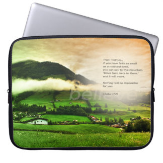 Matthew 17:20 Move mountains bible verse sunset Laptop Sleeve