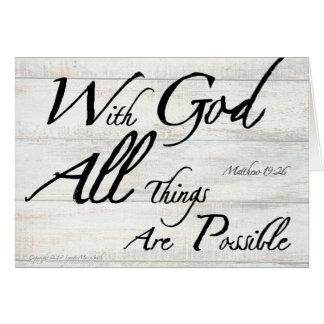 Matthew 19:26 Bible Verse on Woodgrain Image Card