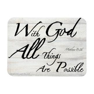 Matthew 19:26 Bible Verse on Woodgrain Magnet