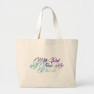 Matthew 19:26 large tote bag