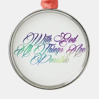 Matthew 19:26 Silver-Colored round ornament