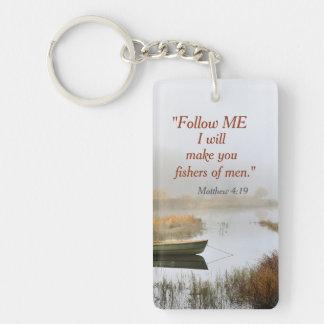 Matthew 4:19 Bible Verse Fishers of Men Custom Double-Sided Rectangular Acrylic Keychain