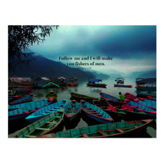 Matthew 4.19 Christian Art  Bible Verse Boats Postcard