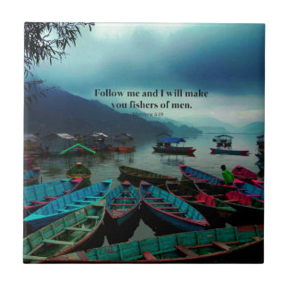 Matthew 4.19 Christian Art  Bible Verse Boats Tile