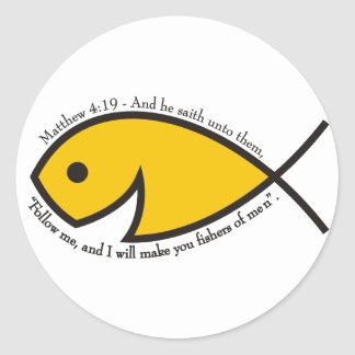 Matthew 4:19 Fishers Of Men Classic Round Sticker